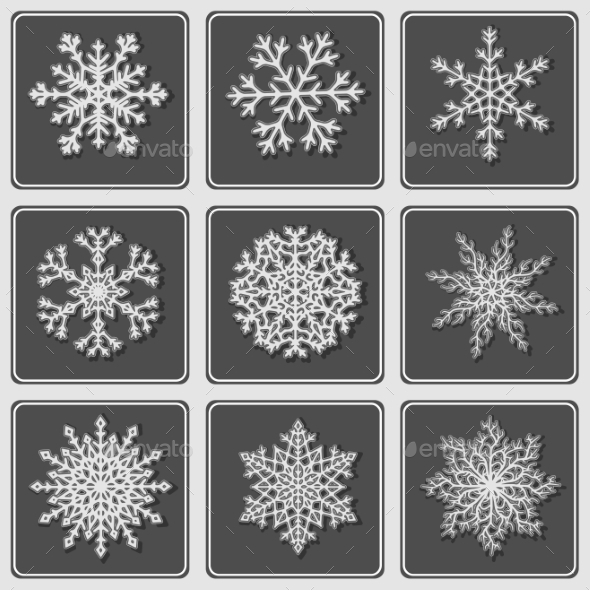 GraphicRiver Set of Beautiful Paper Snowflakes 9145463