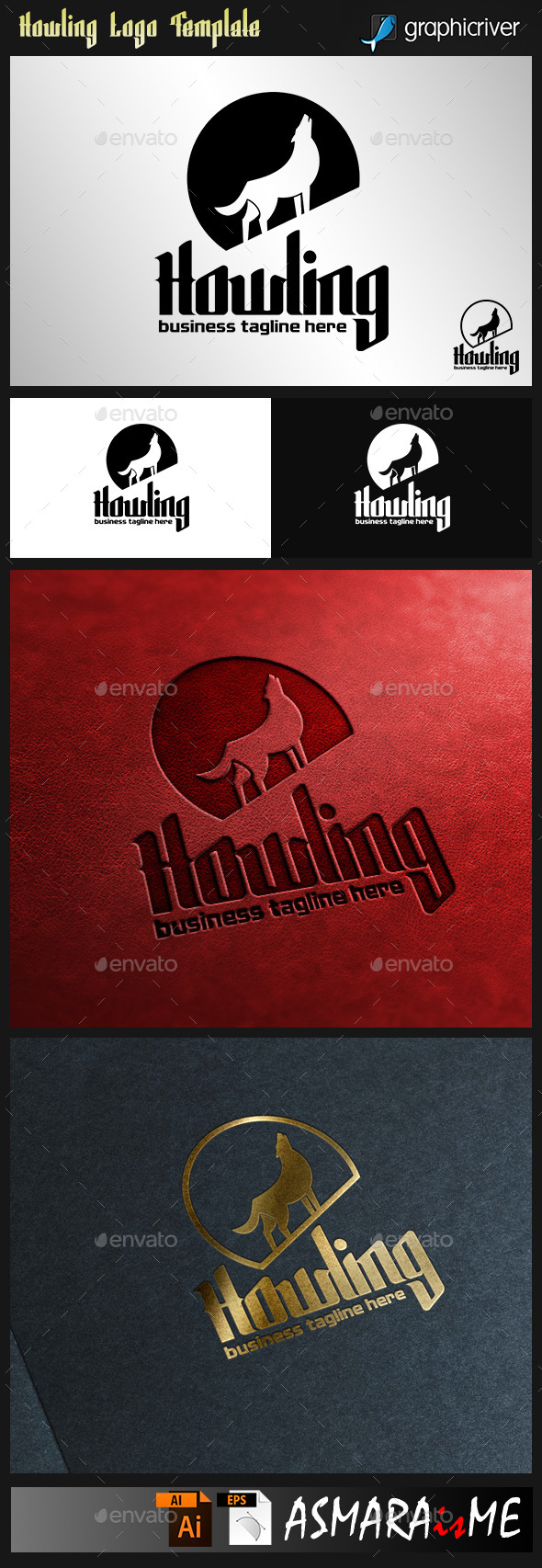 GraphicRiver Howling Wolf Logo 9145756