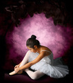 Ballerina tying ribbons pointe - PhotoDune Item for Sale