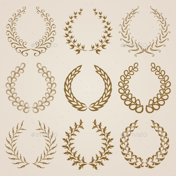 GraphicRiver Set of Gold Laurel Wreaths 9145934