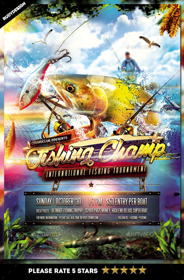 GraphicRiver Fishing Tournament Flyer Design 9102405