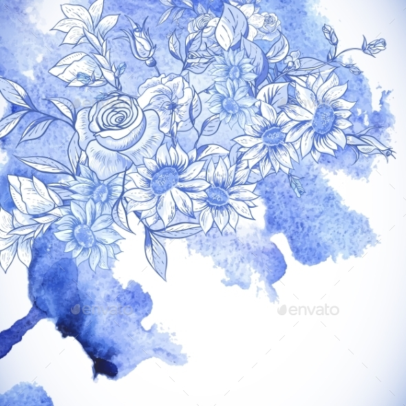 Vintage Blue Greeting Card with Flowers