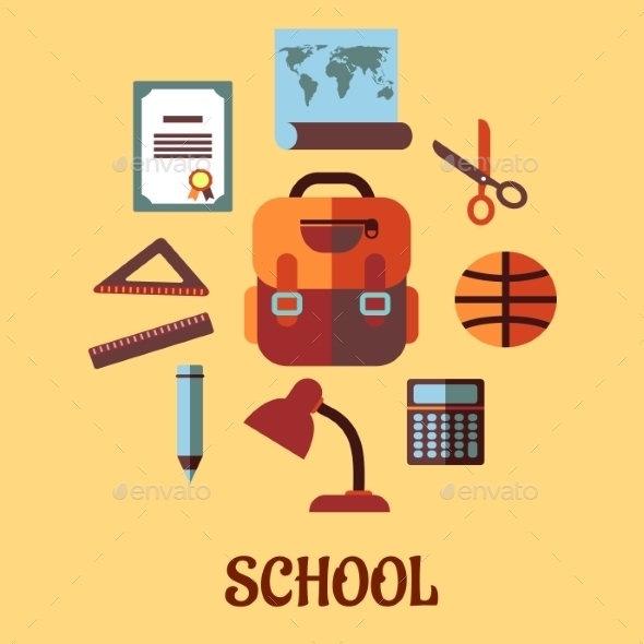 GraphicRiver Infographic School Education in Flat Design 9147847