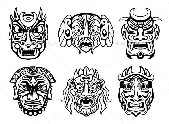 GraphicRiver Religious Masks in Tribal Style 9147851