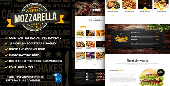 ThemeForest Mozzarella Cafe Bar PSD Template 9147917