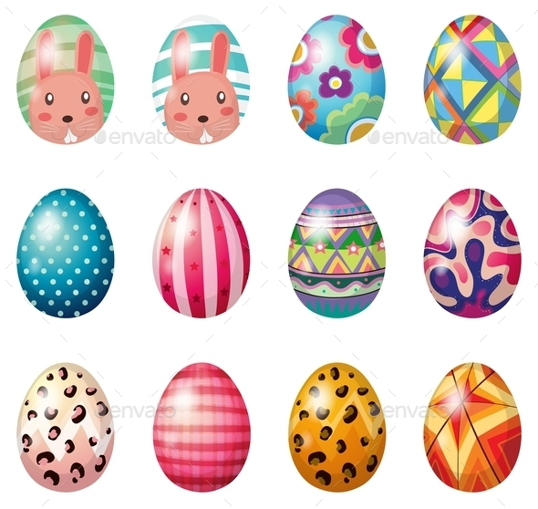 GraphicRiver Easter Eggs with Colorful Designs 9148052