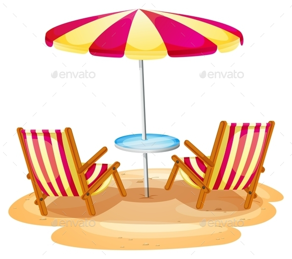 GraphicRiver Stripe Beach Umbrella and Chairs 9148083