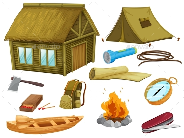 GraphicRiver Various Objects of Camping 9148152