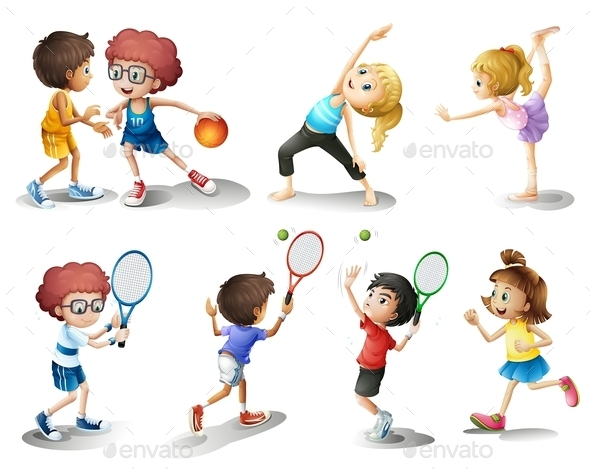 GraphicRiver Kids Exercising and Playing Different Sports 9148168