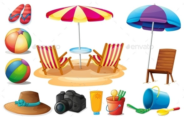 GraphicRiver Things Found at the Beach during Summer 9148174