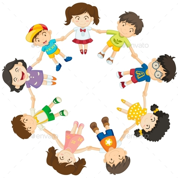 GraphicRiver Kids forming a Circle 9148258