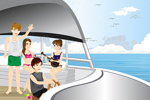 GraphicRiver Young People Riding a Motor Boat 9148310