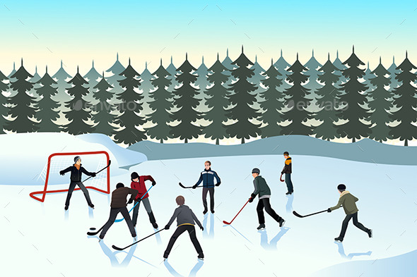 GraphicRiver Men Playing Ice Hockey Outdoor 9148311