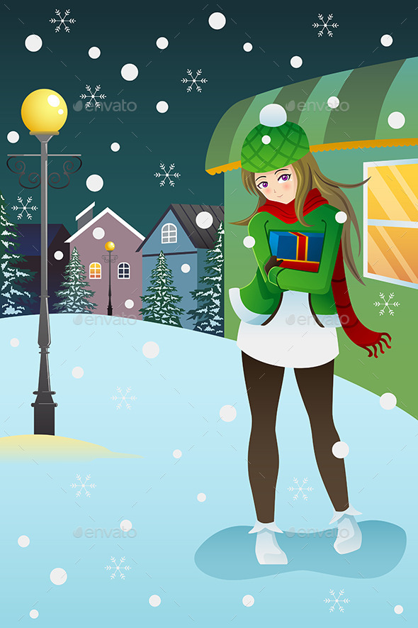 GraphicRiver Girl Standing in the Middle of a Winter Night 9148315