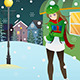Girl Standing in the Middle of a Winter Night - GraphicRiver Item for Sale