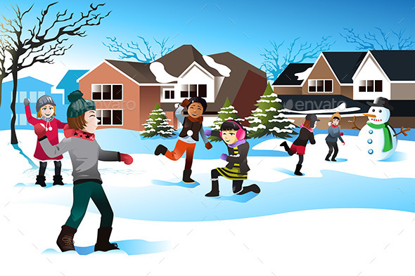 GraphicRiver Kids Playing Snowball Fight 9148456