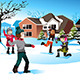 Kids Playing Snowball Fight - GraphicRiver Item for Sale