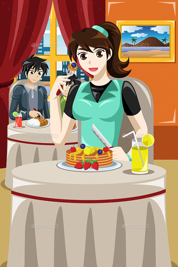 GraphicRiver Woman Eating Fruit Pancakes 9148626