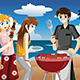 Young People Having a BBQ - GraphicRiver Item for Sale