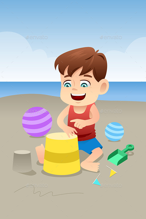 GraphicRiver Boy Playing on the Beach 9149042