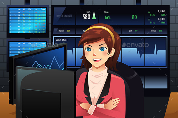 GraphicRiver Stock Trader in Front of Multiple Monitors 9149092