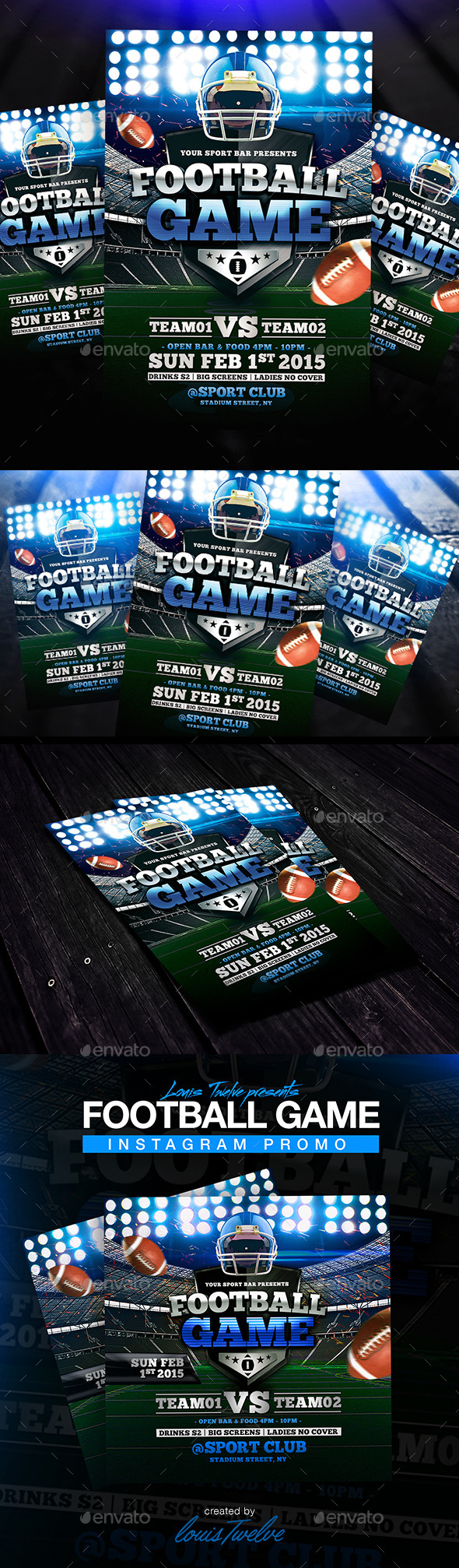 GraphicRiver Football Game Flyer & Instagram Promo 9149125