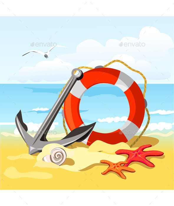 GraphicRiver Beach Anchor Lifebuoy and Starfish 9149453