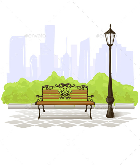 GraphicRiver Bench and Streetlight 9149592