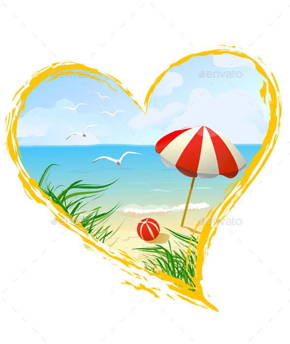 GraphicRiver Icon in the Shape of a Heart with Beach 9149725