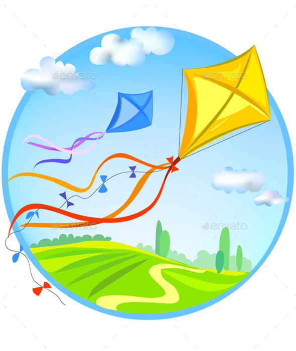 GraphicRiver Kite and Rural Landscape 9149811