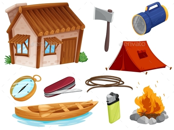 GraphicRiver Various Objects of Camping 9149843