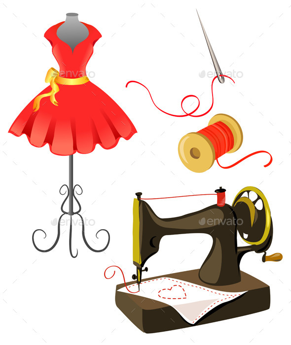 GraphicRiver Mannequin Dress Sewing Machine Isolated 9149849
