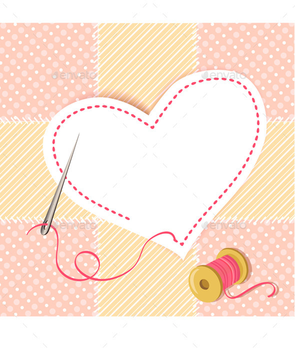 GraphicRiver Patchwork Heart with a Needle Thread 9149859