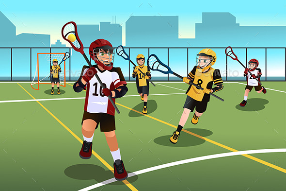 GraphicRiver Kids Playing Lacrosse 9149887