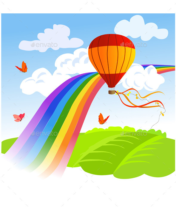 GraphicRiver Rainbow Landscape and Hot Air Balloon 9149892