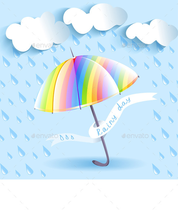 GraphicRiver Rainbow Umbrella and Rain 9149952