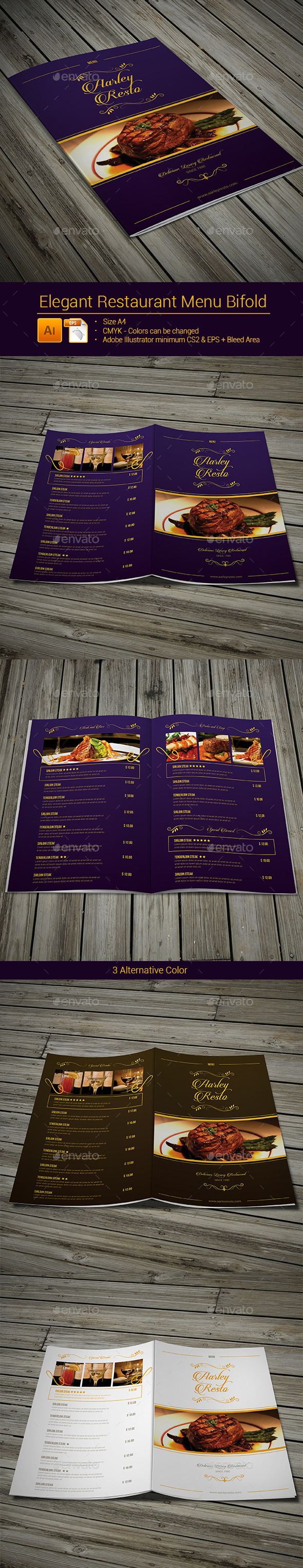 GraphicRiver Elegant Restaurant Menu Bifold 9149979