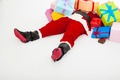 santa claus too tired to lie on floor with many gift boxes over white background - PhotoDune Item for Sale