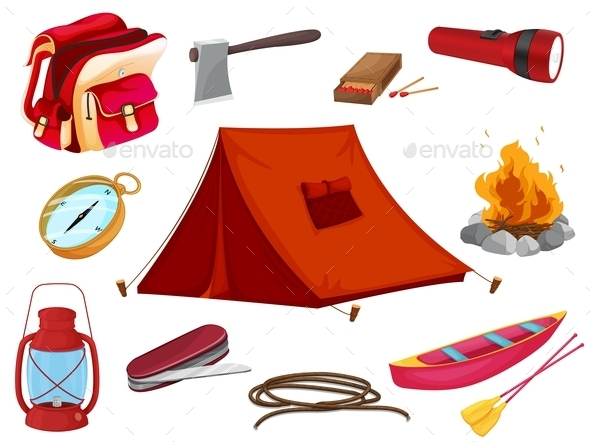 GraphicRiver Various Objects of Camping 9150263
