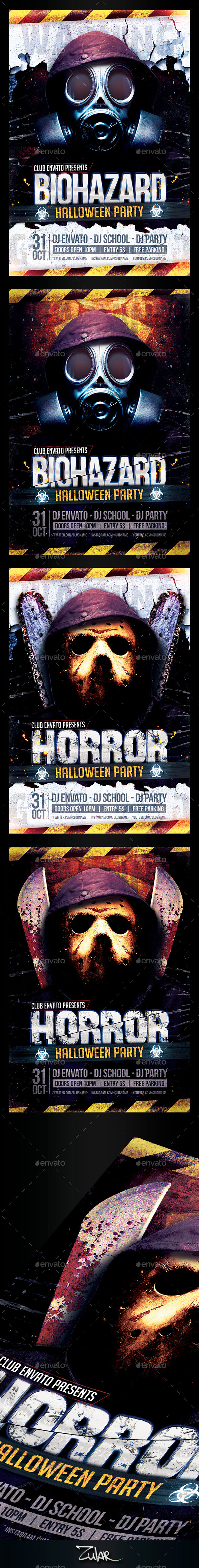Horror u0026 Biohazard Halloween Party Flyers