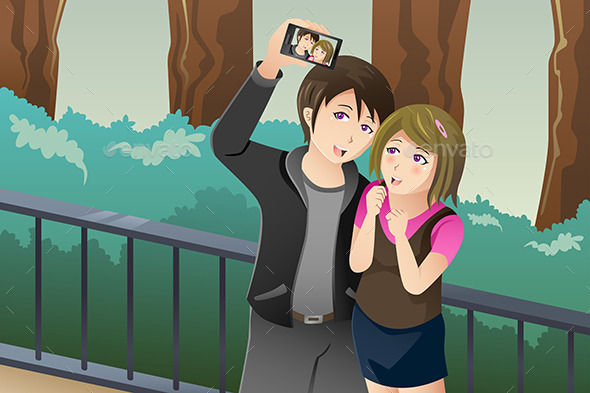 GraphicRiver Couple Taking a Selfie Picture of Themselves 9150356