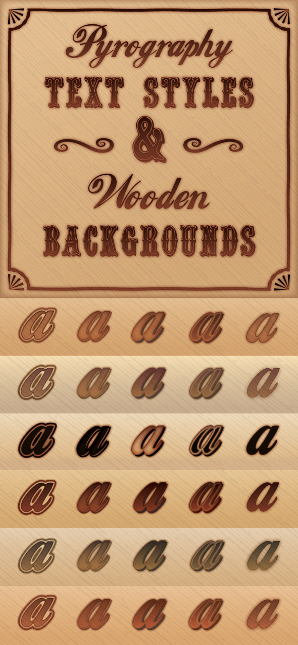 GraphicRiver Pyrography Burnt Wood Styles & Background Pack 9150454