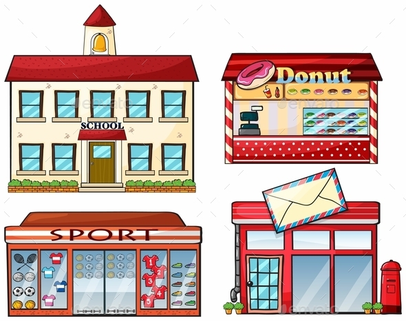 GraphicRiver A School Donut Store Sport Shop and a Post Office 9150487