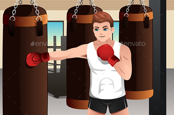 GraphicRiver Boxer Training in the Gym 9150701