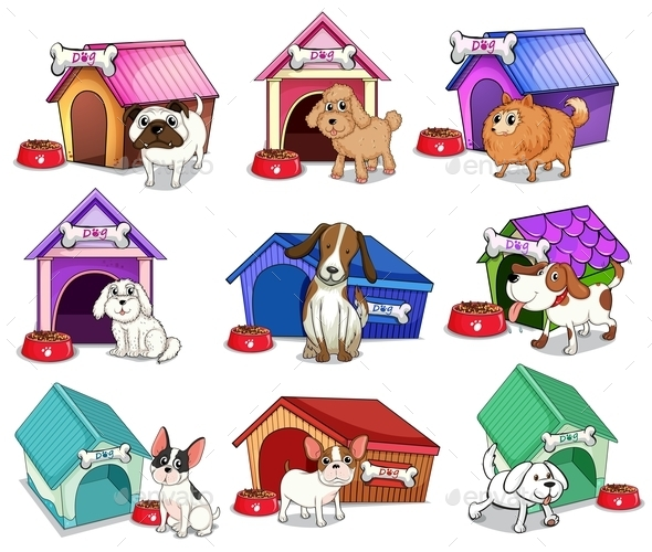 GraphicRiver Dogs with Houses 9150778