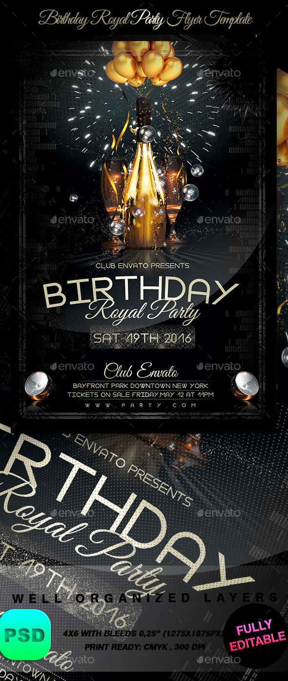 GraphicRiver Birthday Royal Party Flyer Template 9137439