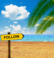 Tropical beach and direction board saying FOLLOW - PhotoDune Item for Sale