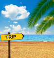 Tropical beach and direction board saying TRIP - PhotoDune Item for Sale