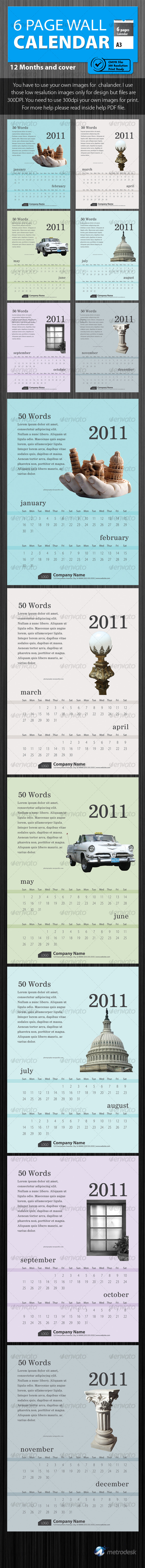 Wall calendar 2011 [6 Page] Print Ready