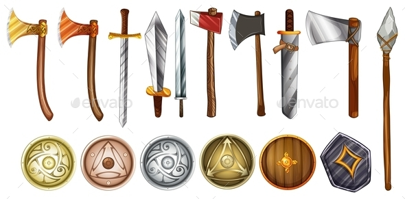 GraphicRiver Weapons and Shields 9150846